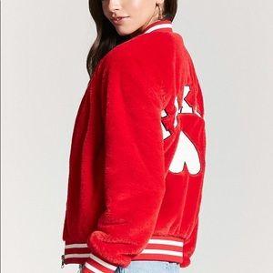Faux Fur Forever 21 Red Varsity Jacket
